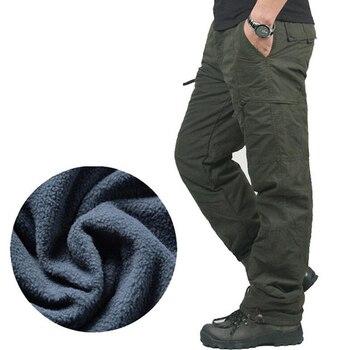 Pantalones de invierno de lana Casual pantalones rompevientos térmicos militares pantalones masculinos hombre cálido jogger táctico cargo Pantalones