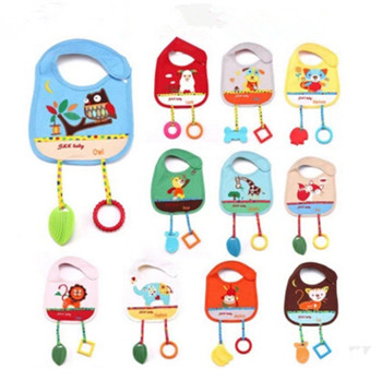 Baby Bibs Saliva towel teether toy Hot Burp cloths Waterproof Cartoon Animal with burp Random Color
