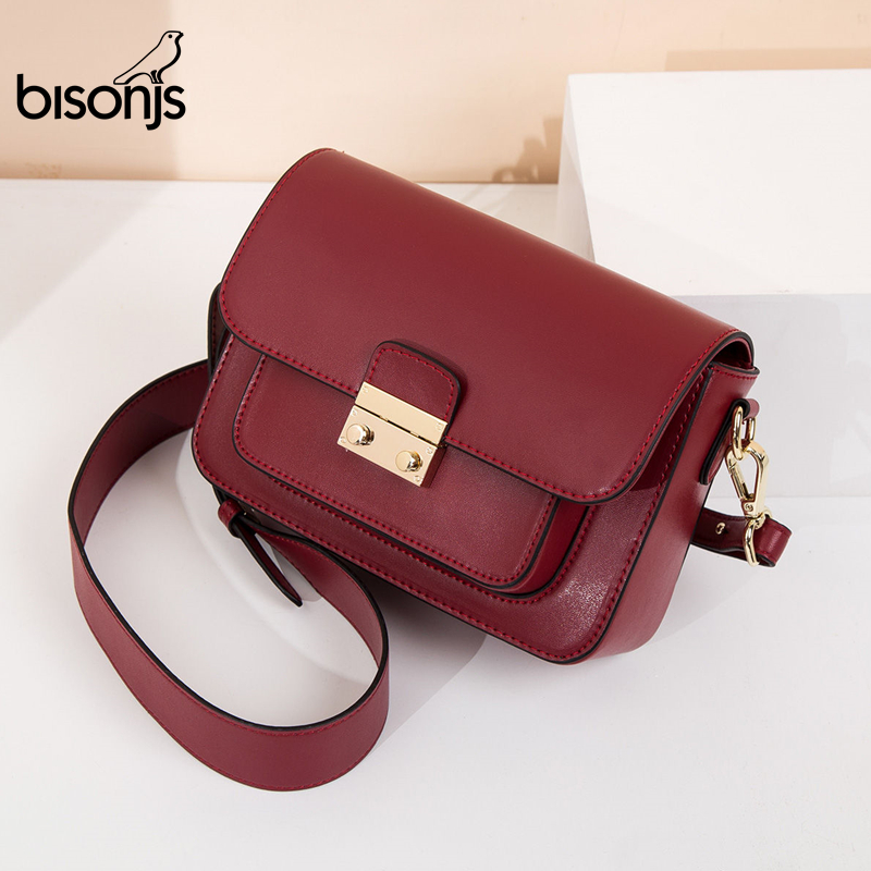 BISONJS Genuine Leather Women Bag New luxury handbags Women Bags designer Ladies Fashion Shoulder Bag Crossbody bags B1770