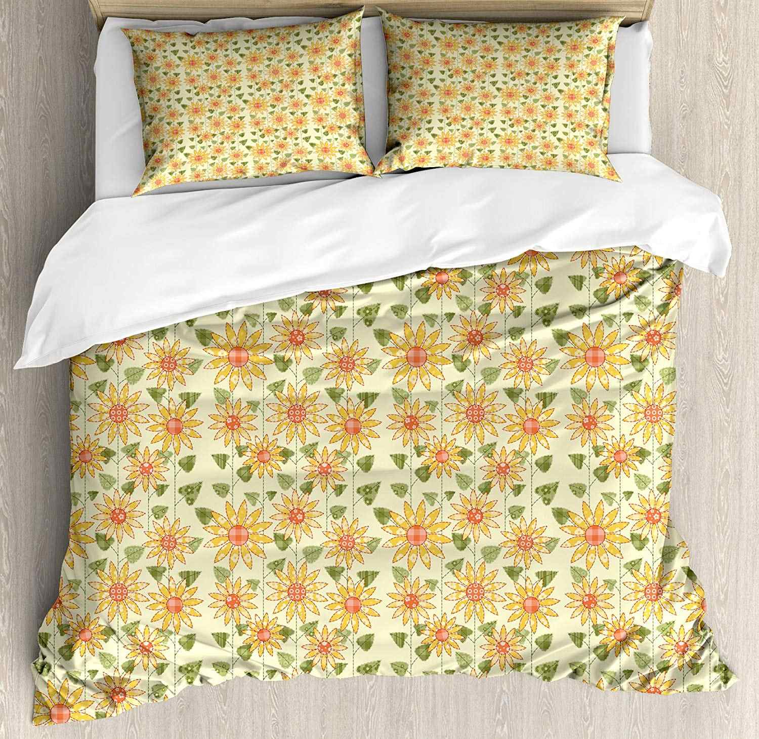 Sunflower Duvet Cover Set Floral Nature Pattern In Patchwork Style Rustic Country Design Decorative 3 Piece Bedding Set Duvet Cover Aliexpress