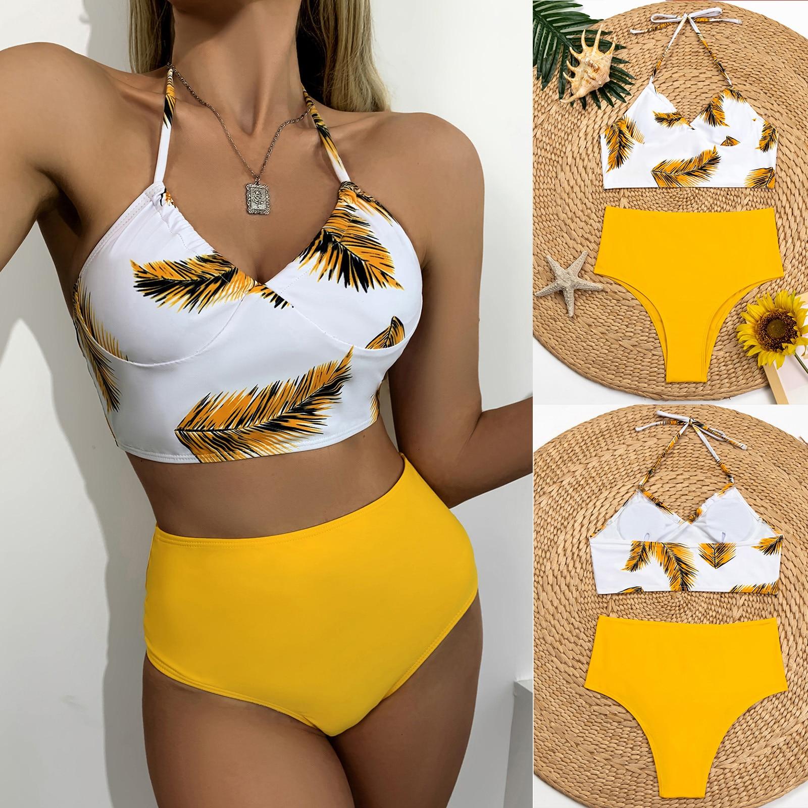 Einfache frauen Straping Druck Nähte Split Badeanzug Sexy Bademode costumi da bagno donna bikini Haut-freundliche mode F4