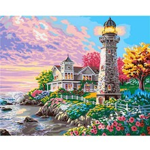 Beautiful Lighthouse Villa Oil painting Digital Acrylic Modern Pictures Hand Painted Canvas Paintings For Art