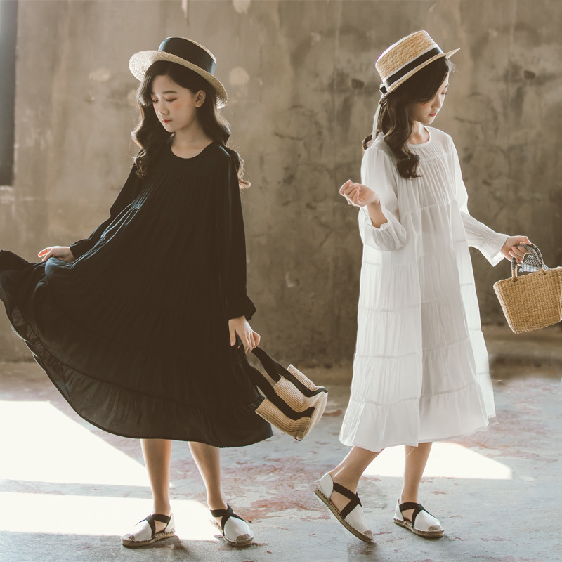 Image 2 - New 2019 Girls White Dress Cotton Loose Dress  Kids Dresses for Girls Baby Princess Dress Children Korean Personality,#5341Dresses   -