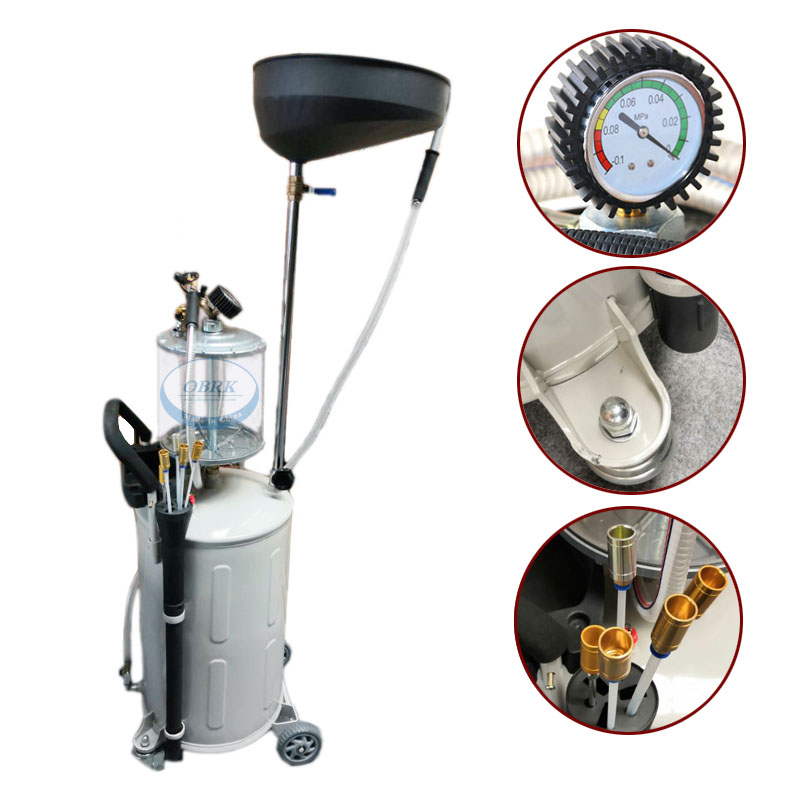 80L Waste Oil Change Extractor New Type Fuel Suction Tool Collecting Oil Machine Pneumatic Waste Oil Collector With Oil Tray