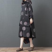 Johnatureレジャートレンチコート女性の洋服 2020 新秋フルスリーブカジュアルフード付きシングルブレスト水玉ロングトレンチコート