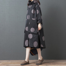 Johnature Leisure Trench Coat Women Clothes 2020 New Autumn Full Sleeve Casual Hooded Single Breasted Polka Dot Long Trench Coat