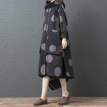 Johnature lazer trench coat roupas femininas 2020 novo outono manga cheia casual com capuz único breasted polka dot longo trench coat