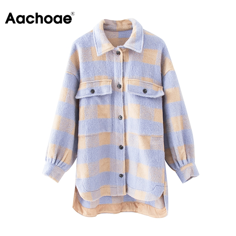 Women Fashion Plaid Jackets Coats Pockets Batwing Long Sleeve Loose Jacket Female Turn Down Collar Casual Ladies Tops Outerwear