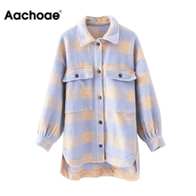 Women Fashion Plaid Jackets Coats Pockets Batwing Long Sleeve Loose Jac
