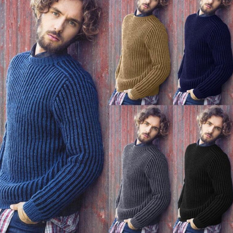 Knit Men's Sweater Business O-neck Long Sleeve Fashion Slim Solid England Male Pullover 2019 Autumn Winter Casual Men Sweaters