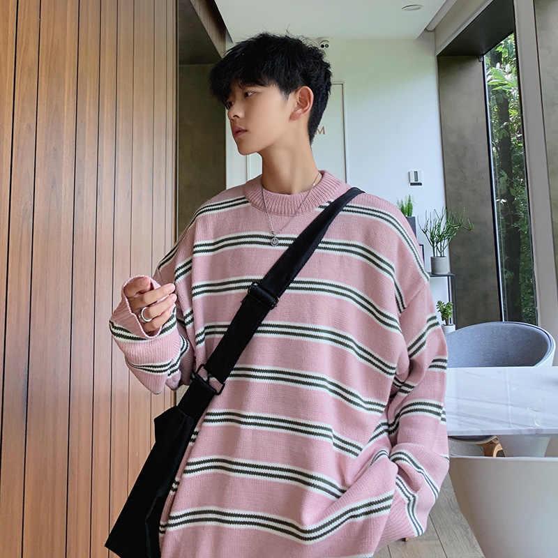 Suéter Harajuku colorido caramelo Unisex arcoíris rayado para hombres suéter coreano Casual tejido Jersey tapas Hip hop caliente suéteres sueltos