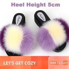 Real Fur Slippers Wedges Women Slides Platform Fluffy Summer Home Shoes Woman Luxury Brand Female Sandals Med Heel Fashion 2019 vtota slippers women fashion open toes women summer shoes heel shoes women slides platform wedges shoes female slippers g63
