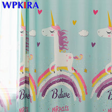 Cartoon Regenboog Pony Gedrukt Blauw Gordijn Voor Kinderen Meisjes Slaapkamer Woonkamer Decor Kinderen Verduisterende Gordijn Sheer M173D3