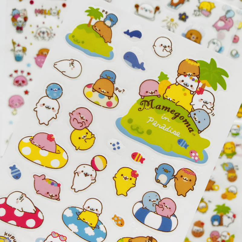 6 Sheets /Pack Cute Sea Lion Otter PVC Decorative DIY Stickers Adhesive Stick Label