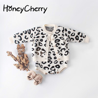 Children's Wear Baby Girl Suit Leopard Print Jacket + romper Crawling Two Suits Newborn Baby Girl Clothes Set