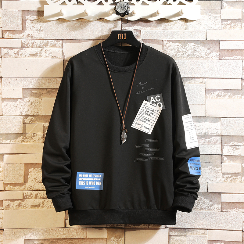 Autumn Spring 2020 Hoodie Sweatshirt Mens Black White Hip Hop Punk Pullover Streetwear Casual Fashion Clothes Plus OVERSize 5XL