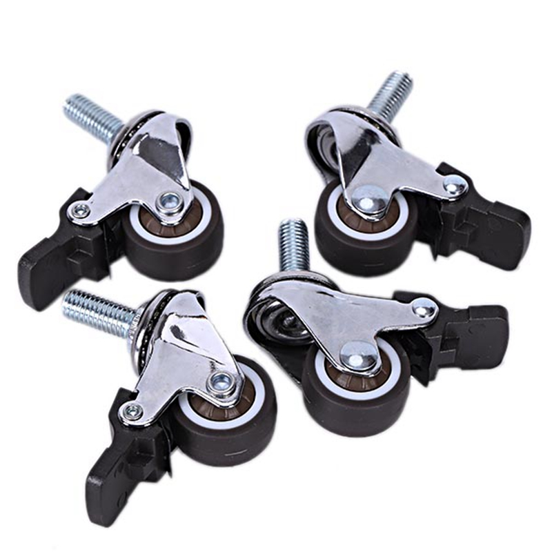 4Pcs Mini Small Casters 1 Inch M8X15Mm Tpe Silent Wheels With Brake Universal Casters Wheel For Furniture Bookcase Drawer Casters     - title=