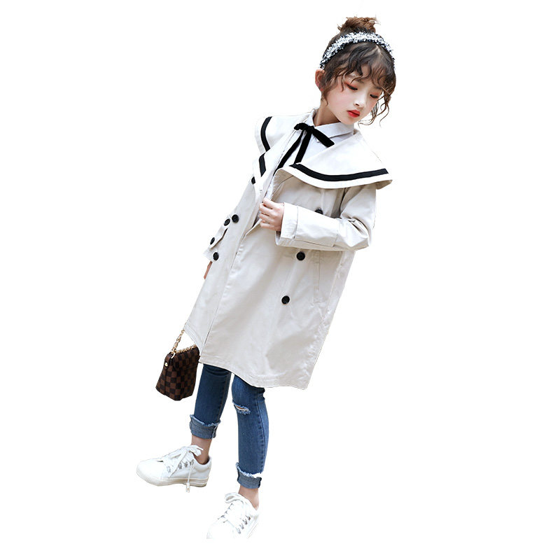 Купить с кэшбэком 2020 Spring Fall New Arrival Korean Style Cotton Pure Color Long Double Breasted Jacket Windbreak Coats for Fashion Baby Girls
