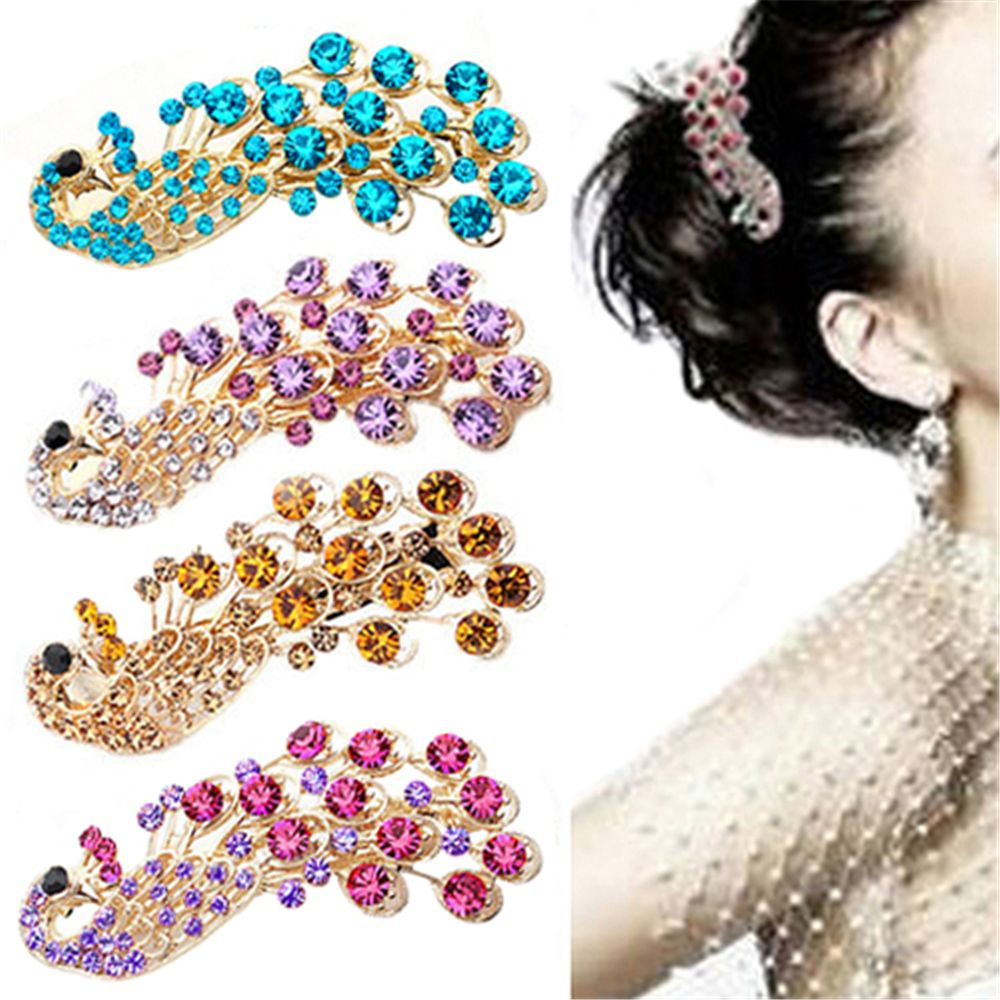 Peacock Full Crystal Rhinestones Hairpin Clip Headwear Barrettes For Women Girls Hairgrips Hair Tool Accessories Styling