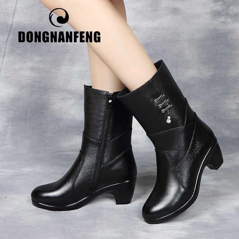DONGNANFENG ผู้หญิงหญิงหญิงสุภาพสตรีแม่รองเท้า Botas รองเท้าส้นสูงเข่า Bling สีดำซิปฤดูหนาวฤดูใบไม้ร่วง Warm Plush ขนสัตว์หนังวัวแท้กลางลูกวัวรอบ Toe Bling Casual นักออกแบบขนาด 35-40 FJ-8816