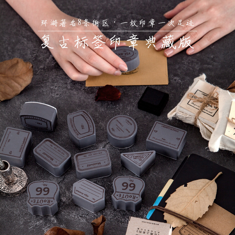 Retro Keep Walking Series Shaped Label Stamp DIY  Wooden Rubber Stamps For Scrapbooking Stationery Scrapbooking Vintage Seal