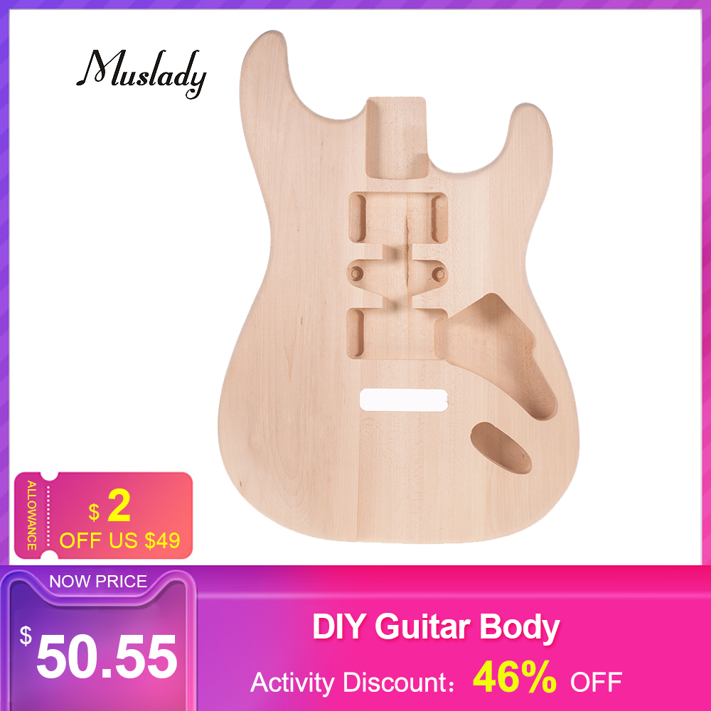 Muslady ST01-DT Unfinished Electric Guitar Body Handcrafted DIY Guitar Body Basswood Barrel Replacement Guitar Accessories NEW