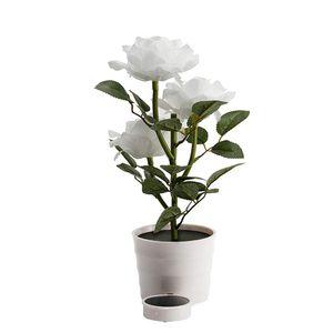 Image 4 - Planta Artificial Led rosa para balcón, jardín, jardín, Lámpara decorativa para mesita de noche, alimentada por energía Solar, maceta de flores para dormitorio blanca