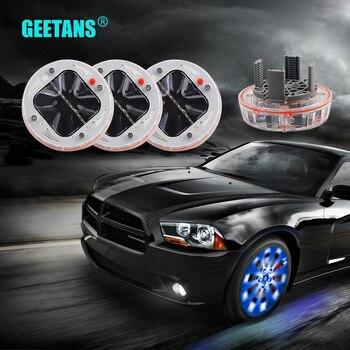 GEETANS 4X Car Auto Waterproof Solar Energy Wheel Light Lamp Decorative Flashing RGB Colorful LED Tire Warning Light for Car DJ