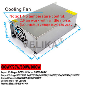 Image 3 - Tek çıkış DC 12V 13.8V 15V 18V 24V 27V 28V 30V 32V 36V 42V 48V 60V 600W 720W 800W 1000W 1200W 1500W güç kaynağı anahtarlama