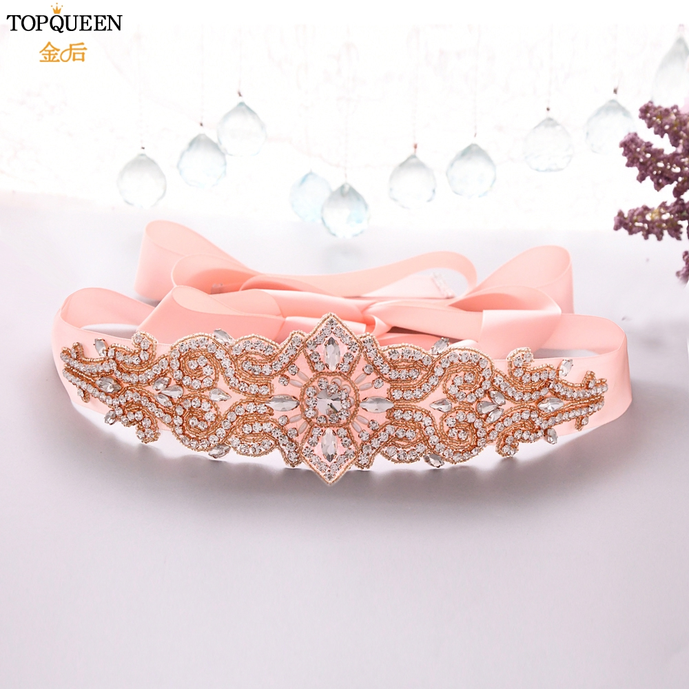 TOPQUEEN Gorgeous Bridal Sash For Wedding Rose Gold Diamond Belt Wedding Sparkly Belts For Dresses Jeweled Ladies Belt S26-RG