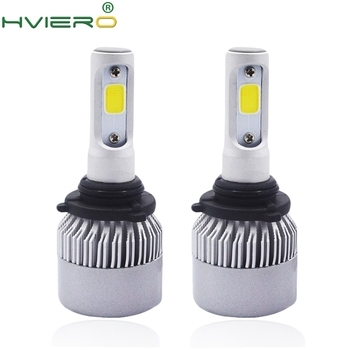 цена на 2Pcs S2 9006 HB4 Cob Headlight WaterProof Auto Bright Bulb Single Beam 72W 8000LM 6500K Automobile Headlamp White DC 12V 24V