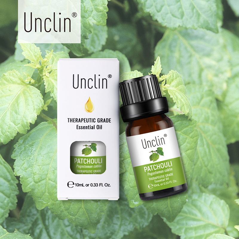 Unclin 10ml Patchouli Pure Essential Oils With Gift Box For Aromatherapy Calmness Help Stress Massage Essential Oil Humidifier
