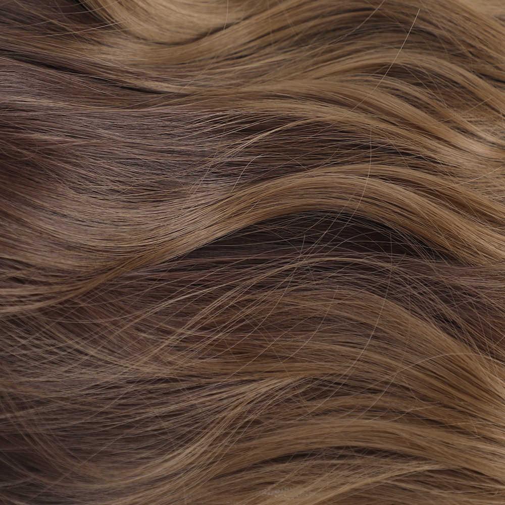 LOUIS ferro uzun Ombre siyah kahverengi dalgalı peruk vurgulamak doğal orta kısmı sentetik peruk kadınlar için Cosplay isıya dayanıklı saç