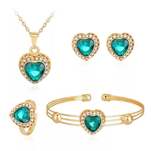 Moda dubai conjuntos de jóias de ouro cristal coração colar pulseira anel brincos conjunto de presente de casamento africano nigéria jóias para mulher 4