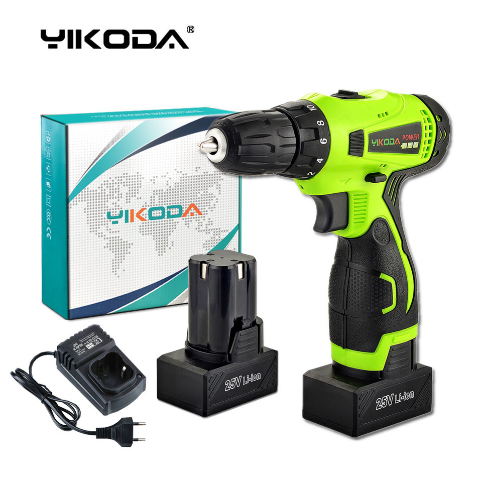 YIKODA 25V Cordless Electric Drill Rechargeable Lithium Battery Screwdriver Parafusadeira Furadeira Multifunction Power Tools