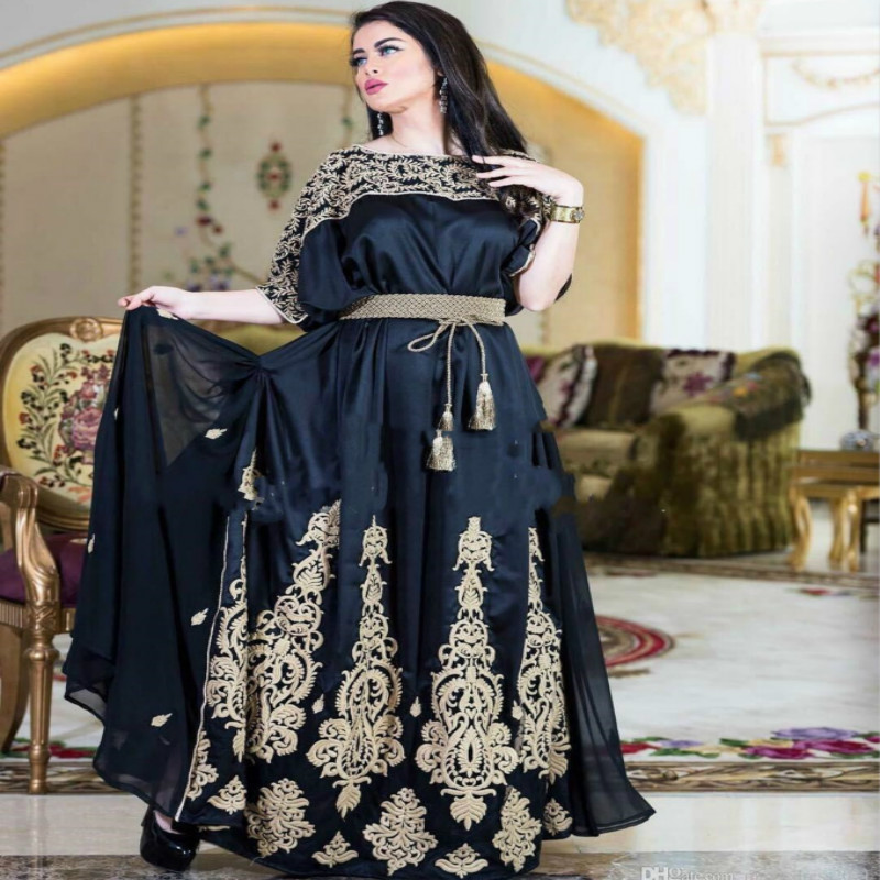 Navy Blue Arabic Turkish Evening Dress With Sleeves Dubai A Line Gold Applique Floor Length Long Prom Dress Plus Size 2019 Robes in Evening Dresses from Weddings Events