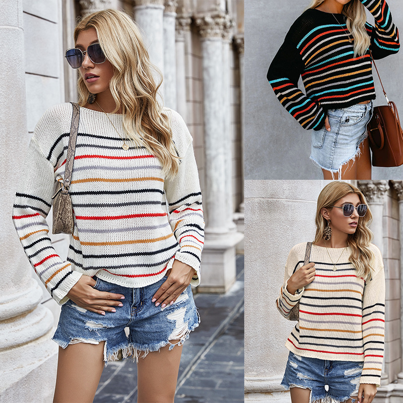Autumn Winter New Ladies Striped Knitted Sweater Lantern Sleeve Loose Blouse Round Neck Casual Pullovers Fashion Female Shirt