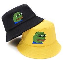 Buckets-Hat Fisherman's-Hat Sad Frog Panama Funny Summer Sunscreen Print Foldable Fashion