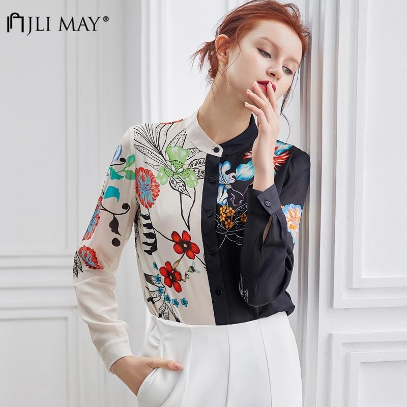 JLI MAY soie imprimé à manches longues blouses femmes Patchwork Floral o-cou bouton Vintage bureau dames chemises automne