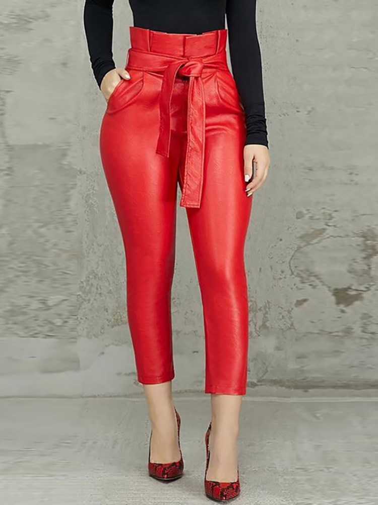 Nice Summer Women Ol Frills High Waist Sashes Ankle-Length Pants Solid Fashion Skinny Pu Pencil Pants