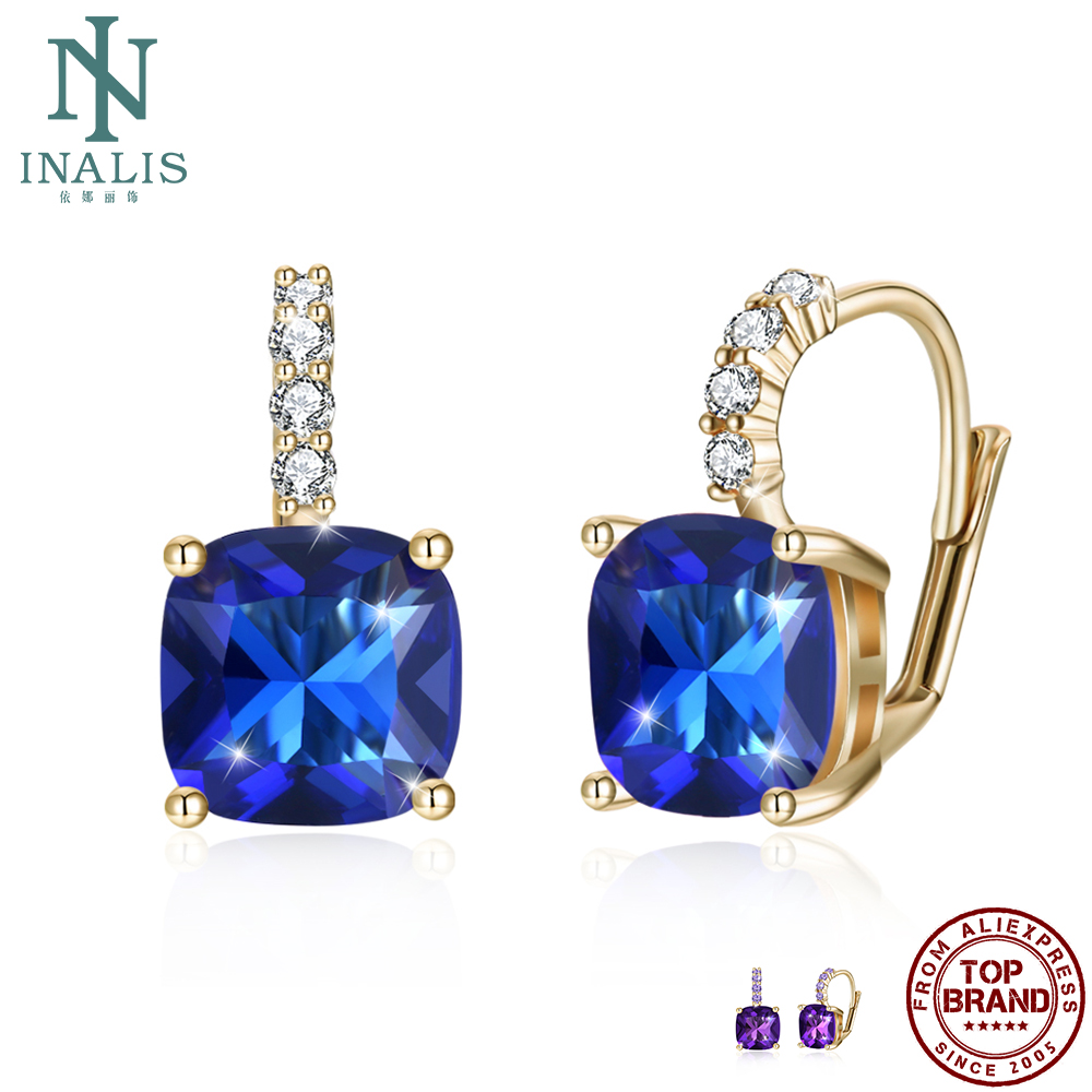 INALIS Champagne Gold Plated Stud Earrings For Women 5A Clear Cubic Zirconia Female Copper Earring Wedding Fashion Jewelry Best