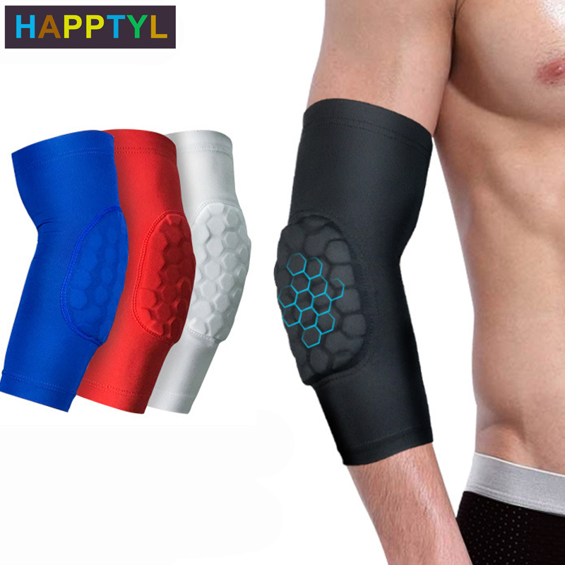 HAPPTYL 1Pcs Elbow Sleeve Elbow Compression Sleeve Sports Arm Forearm Brace Support Honeycomb Pad Crashproof Arm Guard Sleeve