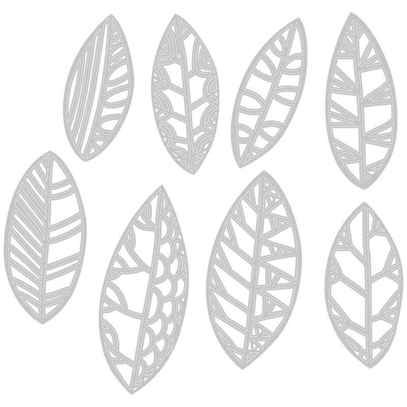 2020 새로운 뜨거운 잎 금속 절단 죽을 스텐실 및 Scrapbooking 종이 3D 카드 만들기 잎 포일 죽을 잘라 공예 세트 스탬프 없음