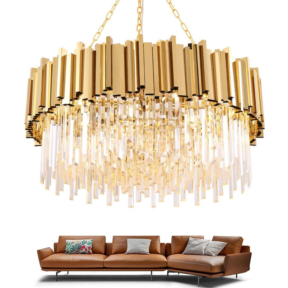 Современная хрустальная лампа, люстра для гостиной, роскошный золотой круглый светодиодный светильник E14, лампа из нержавеющей стали