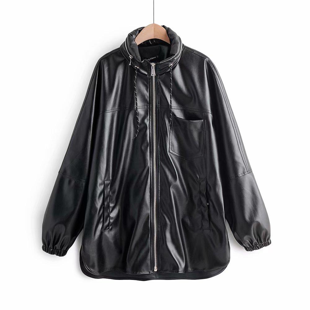 Vintage Autumn Women Hat Detachable Hooded PU   Leather   Jacket Stylish Female Pockets Zipper Mandarin Collar Coat Casual Outerwear