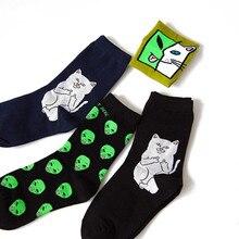 Female Socks Skateboard-Socks Cat-Alien Middle-Tube Street-Style Hip-Hop And