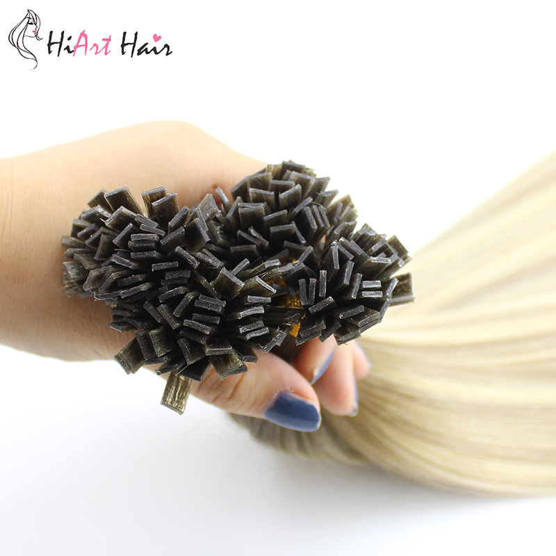 Hiart Fusion Keratin Capsules Hair Extensions Real Human Remy Hair Salon 1g Double Drawn Flat Tip Hair Extension Straight