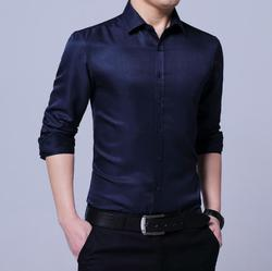 New 2020 Spring Men's Pure Color Shirt em8 Long Sleeve Slim Fashion Casual Inch Shirt Men's Shirt k3310-2-9