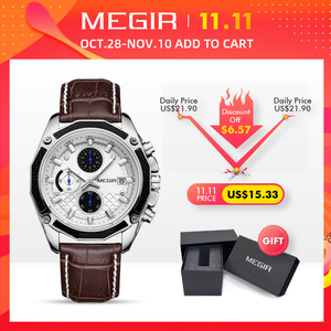 Image 2 - MEGIR Official Quartz Men Watches Fashion Genuine Leather Chronograph Watch Clock for Gentle Men Male Students Reloj Hombre 2015