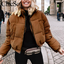 MissyChilli Casual down parka jacket women coat winter Female khaki streetwear short coat Snow wear corduroy warm outerwear2020 cheap zipper S18OW0047 G19OW0817 Full Polyester COTTON Thick (Winter) REGULAR Solid 0 712KG Pockets Autumn Winter 2020 new fashion